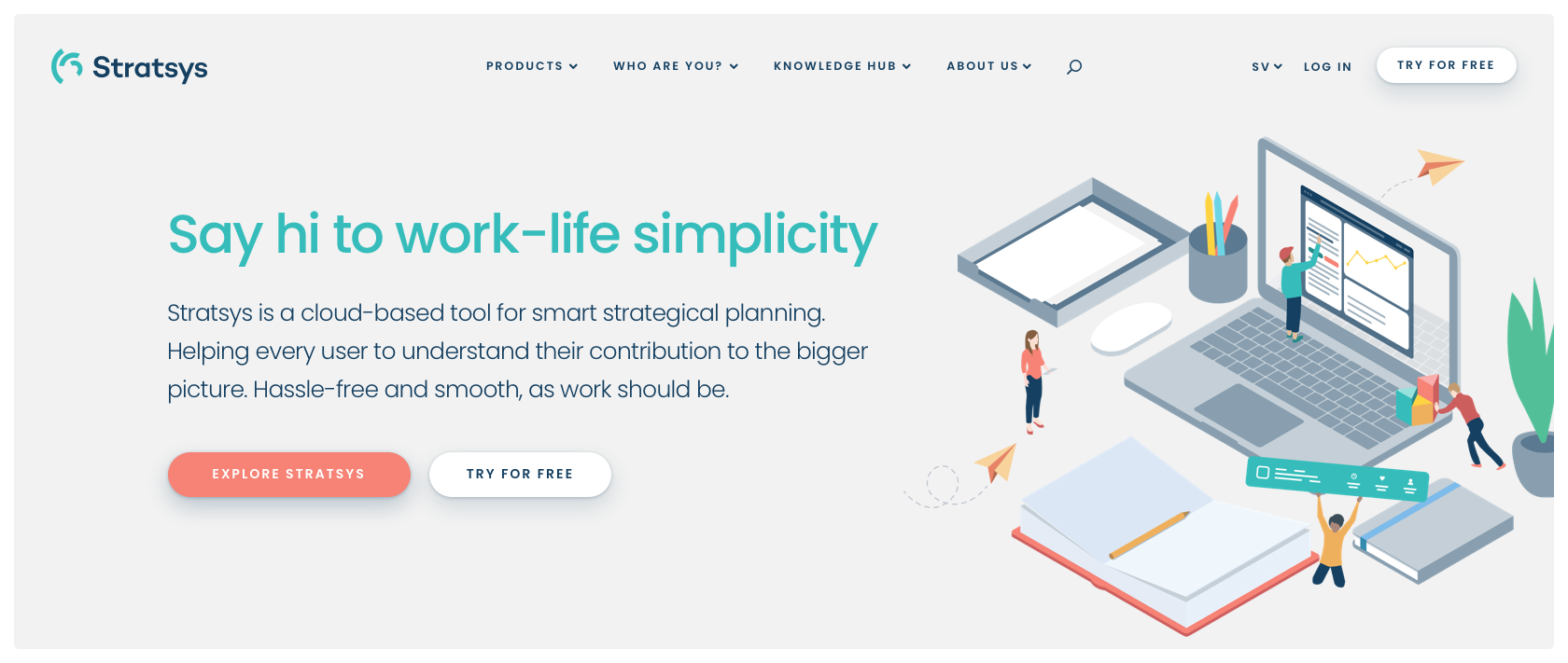 Startsidan för nya Stratsys